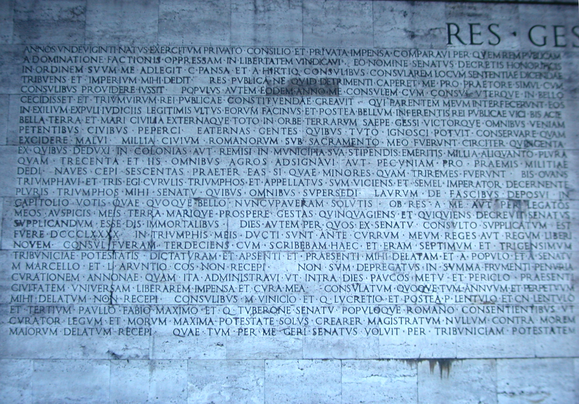 an analysis of augustus regime in res gestae Res gestae divi augusti is the funerary inscription of the first roman emperor,  augustus, giving  later historians (both ancient and modern) who characterized  augustus' rule according to categories he himself constructed in the res gestae .